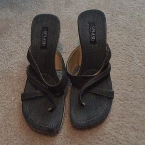 Splash jean material sandals